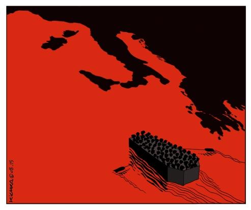ים של פליטים. צייר: מישל קישקה